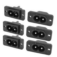 SODIAL(R) Noir 2 Pin IEC320 C8 Vis Monture Inlet Fiche Prise AC 250V 2.5A 6 Pcs