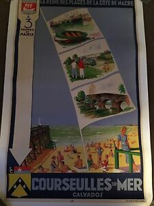 Original Vintage Poster Normandy Travel