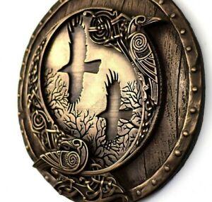 Viking Decor Norse Ravens Viking Shield Wall Bronze Sculpture Rustic Home Decor