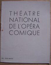 #) programme THEATRE NATIONAL DE L'OPERA COMIQUE - WERTHER (drame lyrique)