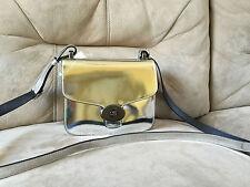 NWT Coach 35284 Page Mini Handbag Shoulder Bag Mirror Metallic Leather Silver