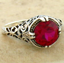 2.5 CT RED LAB RUBY 925 STERLING SILVER ANTIQUE FILIGREE STYLE RING SIZE 5, #641