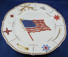 Rare 19thC American Flag Limoges Porcelain Plate Militaria Us Usa French