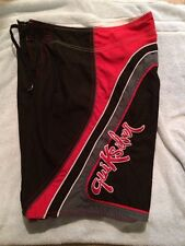 Quicksilver lMENS BOARD SHORTS 30 X10.5 Black Red Gray Boardshort Surf