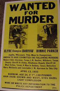 VINTAGE BONNIE AND & CLYDE WANTED MURDER POSTER art mob Joplin Missouri  '30s