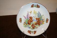 "James Kent Fine Earthenware 7"" Child's Plate  Bears, Birds, Flowers, Bunnies"