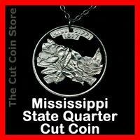 Mississippi 25¢ MS Quarter Cut Coin Necklace Southern Magnolia State Jewelry