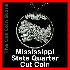 Mississippi 25¢ MS Quarter Cut Coin Charm Necklace Southern Magnolia State