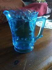 """Vintage 5-1/8"""" Blue Glass Small Pitcher Square Handle. #3 on bottom. Scallop rim"""