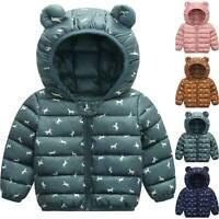 Toddler Baby Kids Boys Girls Ear Jacket Winter Warm Hooded Coat Outwear Snowsuit