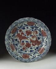 Chinese Antique B&W Red-Underglaze Porcelain Plate Phoenix