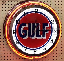 "18"" GULF Antique Sign Gasoline Motor Oil Gas Station Double Neon Clock No Nox"
