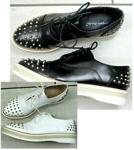 Womens Black White Faux Leather Lace Up Spiked Flat Brogue Loafers Oxford Shoes
