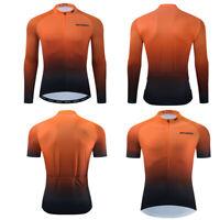 2021 Mens Bike Cycling Jersey Short Long Sleeve Tops Bicycle Shirt Orange Shirts