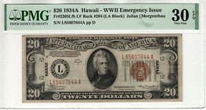 1934 A $20 FEDERAL RESERVE HAWAII NOTE FR.2305 LATE FINISH BACK 204 PMG 30 EPQ