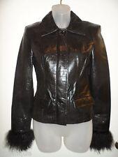 bebe P S NWOT Jacket 100% Genuine Leather 100% Mongolian Sheep Fur Black Spring