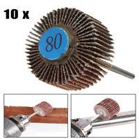 10X Sanding Sandpaper Flap Wheel Disc 80 Grit Corundum For Rotary Tools