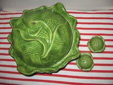 4pc Holland Mold Green Cabbage Soup Slaw Serving Bowl w Lid Salt & Pepper Set