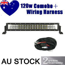 NEW 22INCH 120W LED WORK LIGHT BAR FLOOD SPOT COMBO + WIRING HARNESS