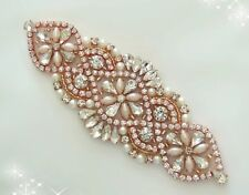 Bridal Wedding Dress Sash Rose Gold Rhinestone Crystal Pearl Encrusted Applique