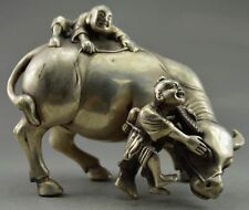 COLLECTIBLE DECORATED SILVER COPPER HANDWORK CARVED CHILD PLAY CATTLE STATUE