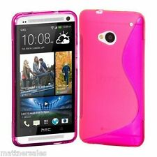 Pink Premium S Line CASE COVER FOR HTC ONE + Screen Protector - M7 Skin Soft TPU