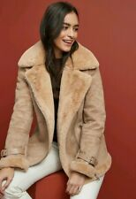 Next Womens stone shearling Aviator jacket fur collar size 12 RRP £70 suede