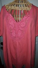 Woman Within Trendy Embroidered Vibrant Watermelon Blouse Plus Size 1X