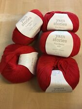 7 X 50g Yarn Stories Fine Merino 4ply Wool for Knitting & Crochet Rouge