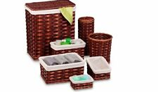 Hampers For Laundry With Lid 7Piece Wicker Basket and Bath Set Storage Chocolate