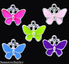 20 SP Mixed Enamel Butterfly Charm Pendants 19x17mm