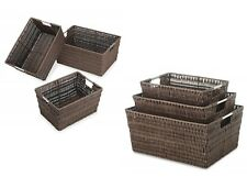 3-piece set of Java Rattan Rattique Storage Baskets Containers w/ Steel Handles