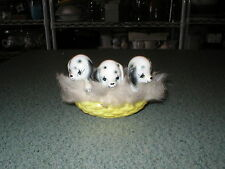 Vintage Mid Century Modern 3 Dalmation Puppies In Yellow Basket W/Fur JAPAN