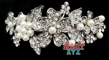 New Bridal Wedding Silver plate Crystal Rhinestone pearl hair barrette hair clip