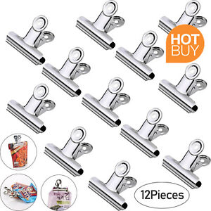 Freezer Bag Food Grip Clips Stainless Steel - 12 Pack for Coffee Frozen Calendar
