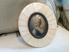 shabby Antique Vtg miniature old french hand painted lady in celluloid Frame