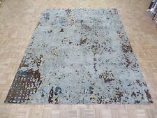 9'2 x 11'8 Hand Knotted Soft Aqua Blue Modern Abstract Oriental Rug Wool G4491