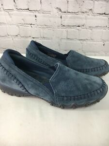Skechers Relaxed Fit Suede Slip-On Shoes Alumni Women SIze 9.5W QVC Navy