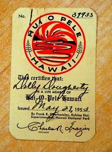 1953 Kilauea Volcano Goddess HUI O PELE HAWAII LIFE MEMBERSHIP CARD Souvenir
