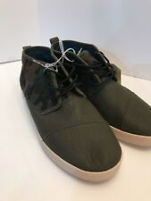 Toms Paseo Men's 11 Leather Suede Green Camo Camouflage Mid Top Sneakers Shoes