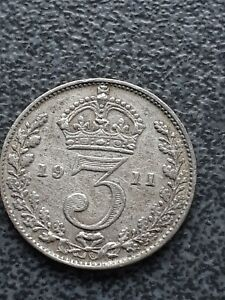 Collectable 1911   Solid Sterling Silver Coin - Threepence - 3d - George V