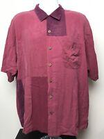 Tommy Bahama Men's Hawaiian Aloha Camp Shirt 100% Silk Size XL Red And Hot (A1)