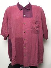 Tommy Bahama Men's Hawaiian Aloha Camp Shirt 100% Silk Size XL Red And Hot