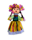 """ONE PIECE SMALL HAND CRAFTED  , MEXICAN TRENZA RAG DOLL , MARIA , MEXICO 8"""""""