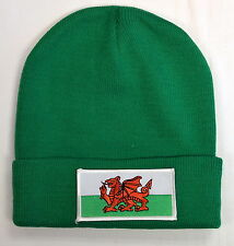 GREEN WELSH DRAGON / FLAG design BEANIE/ SKI HAT, Wales, Cymru