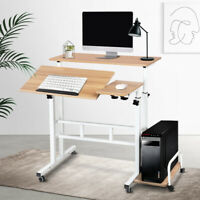 Adjustable Home Office Laptop Desk Mobile Computer Stand Standing Table Wheels