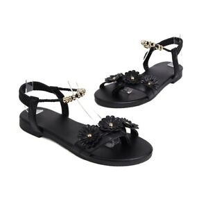 New Women's Sandals Ankle Strap Open Toe Beach Roman Holiday With Flower Shoes B