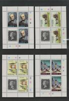 Barbuda - 1979, Sir Rowland Hill set in Blocks of 4 - MNH - SG 447/50