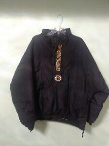 Starter Boston Bruins Hockey Pullover Winter Parka Jacket 1/3 Zip X Large