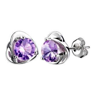 925 Sterling Silver Heart Shape Cubic Zirconia Stud Earring Gift Lady Rhinestone